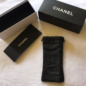 Auth CHANEL glasses cloth case and box auth card